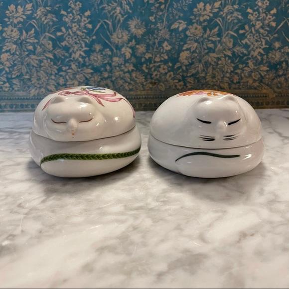 Pair of Vintage Porcelain Cat Candles